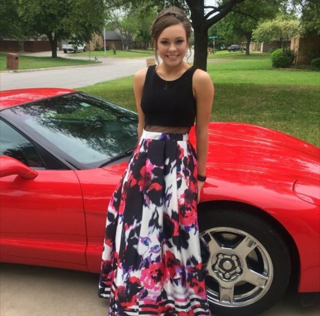 prom-dress-tan-red-car